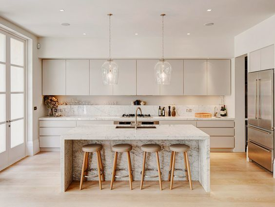 islands for the kitchen cabinet sets 开放式厨房有哪些好看的厨房中岛兼餐桌设计 知乎 不过这种方式 我们都能看出来 因为另一侧是操作面 所以只能一边设置吧台 做餐桌的话 只做一侧肯定是不行的