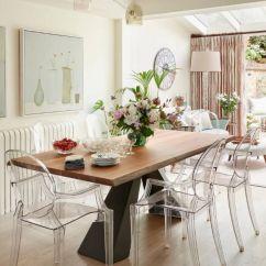 Oak Kitchen Islands Tiles For Backsplash 用温暖和平静 调色出一个温馨的家 知乎 他以前是厨房的餐厅 是家庭餐桌的完美尺寸 顶部与厨房中的橡木主题相关联 但现代底座和透明椅子增添了现代感 Joy说