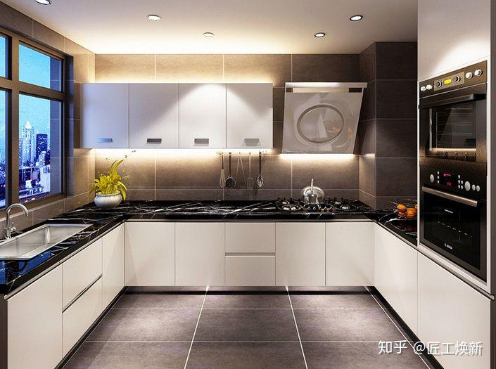 gray kitchen chairs pics of cabinets 厨房用灰色墙砖好不好 看完这篇你就知道了 知乎 厨房空间宽敞 采光也好 采用深灰色的砖 黑色台面 白色橱柜门 搭配颜色 并且稳重大方 利用射灯满足采光的需求 以简洁的设计营造舒适感 灰色砖石从墙面延伸至