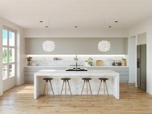 grey kitchen backsplash red valances for windows 子弹头照明教你如何打造北欧家居 厨房篇 知乎 这个厨房与起居区融为一体 有八张灰色的大面积的圆凳和大圆桌 同时白色的现代厨房巧妙地利用了它的空间 微波炉嵌进白色橱柜 不规则的圆形吊灯又增加了一个不错的