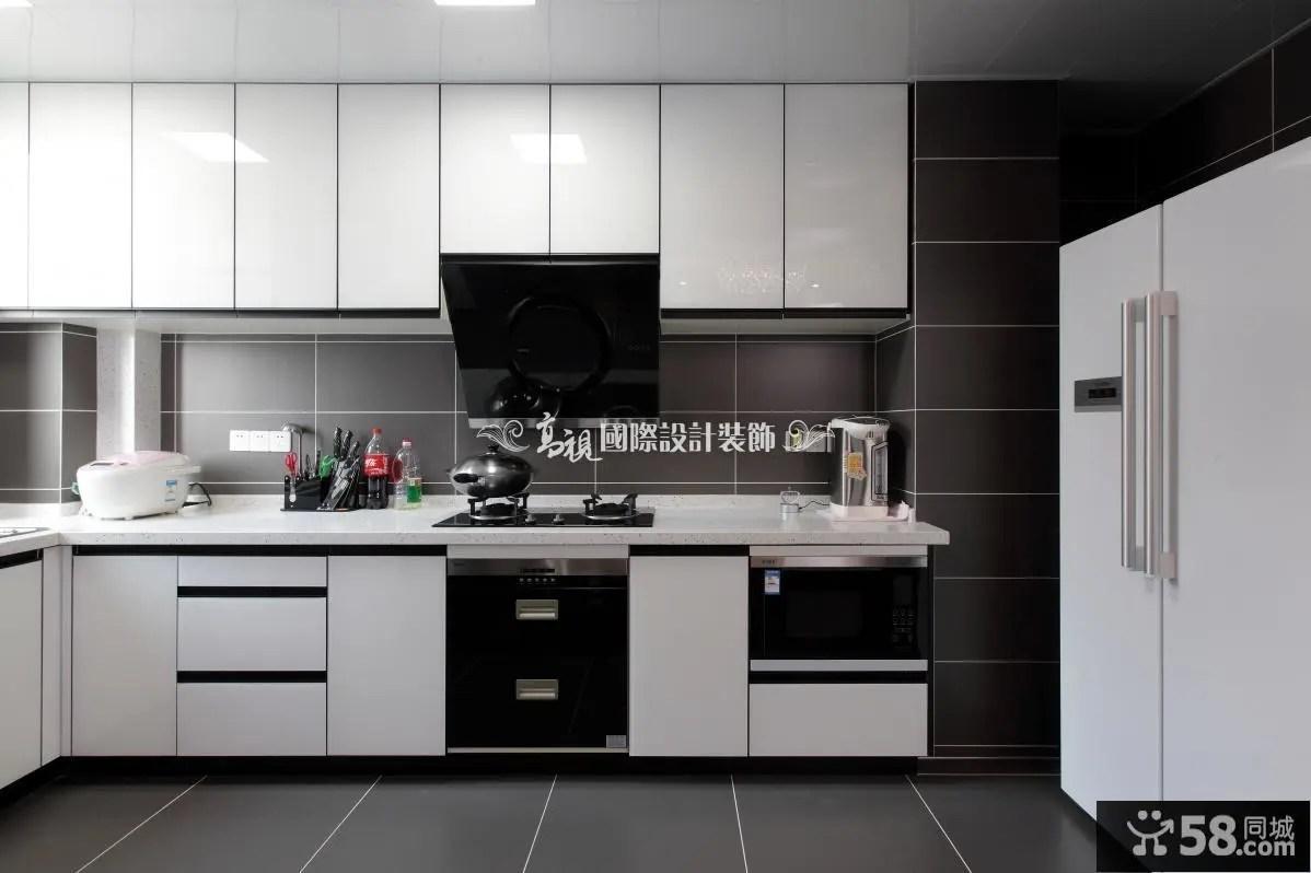 kitchen black cabinets red knife block set 黑色厨房橱柜 58同城装修效果图大全 现代厨房橱柜装修效果图片
