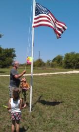 Hoising the flags