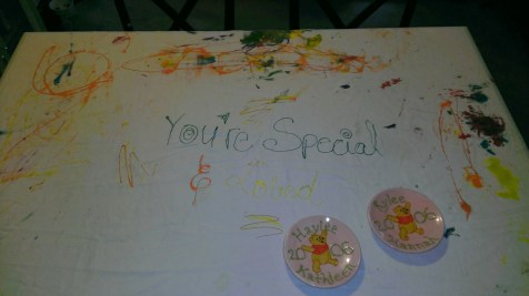 The special birthday tablecloth.