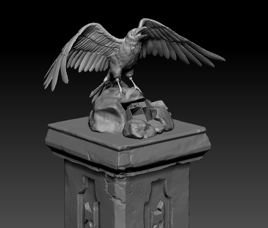 Foam Sculpting - Raven Topped Column 3-D Model Rendering