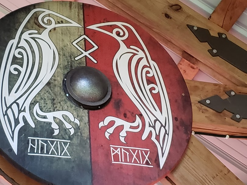2 Crows Viking Shield - Wood Prints