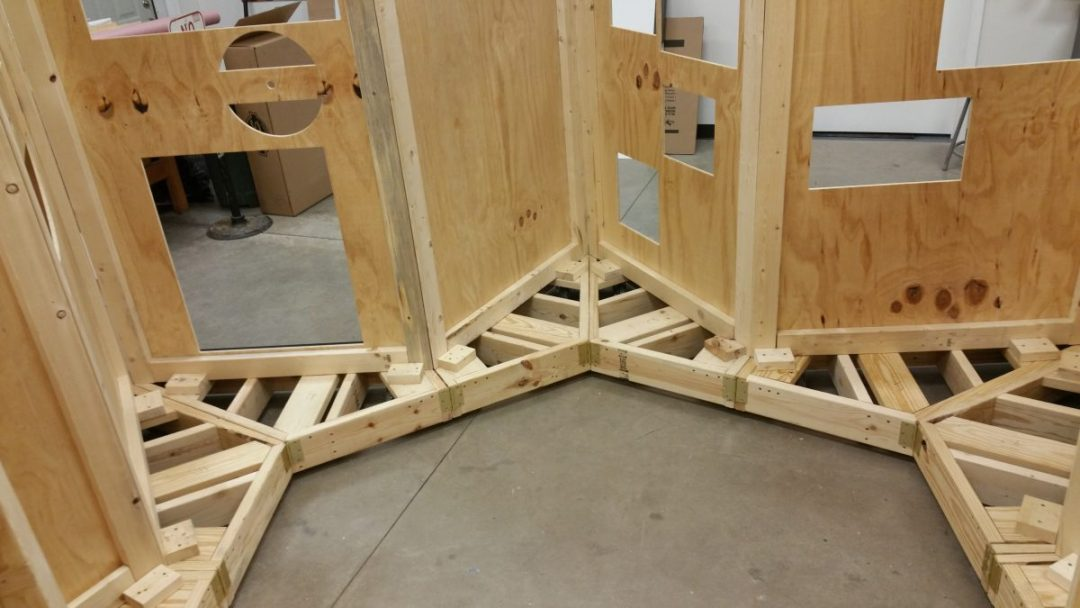 Interior View of Plywood Wall Support for Foam Pages