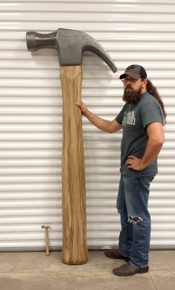 Foam Sculpting - 8' tall Hammer Sculpture