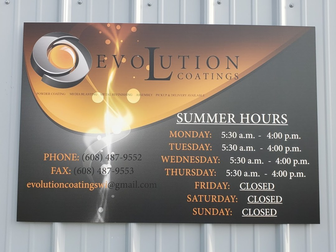 Evolution Coatings Business Hours Sign