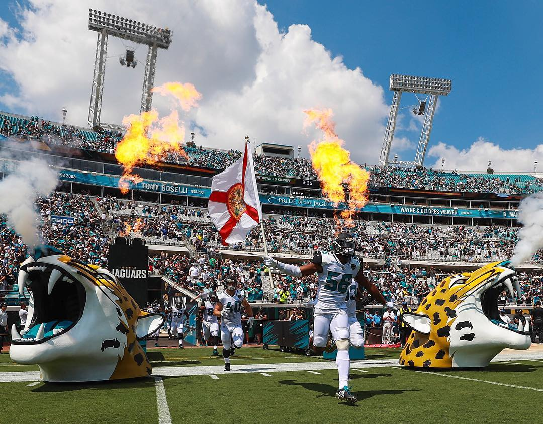 Fire Rated Foam Props on the field at Jacksonville Jaguars