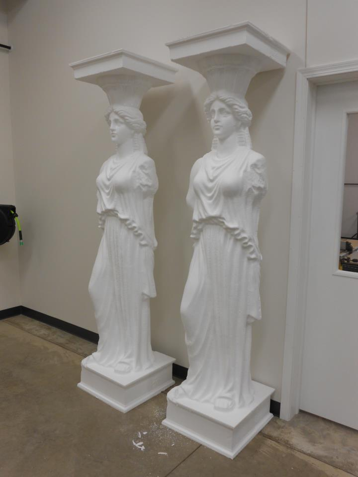 Foam Sculpture - Raw Foam Models, Scanned and Carved Replica of Greek Temple Maidens Temple Of the Maidens