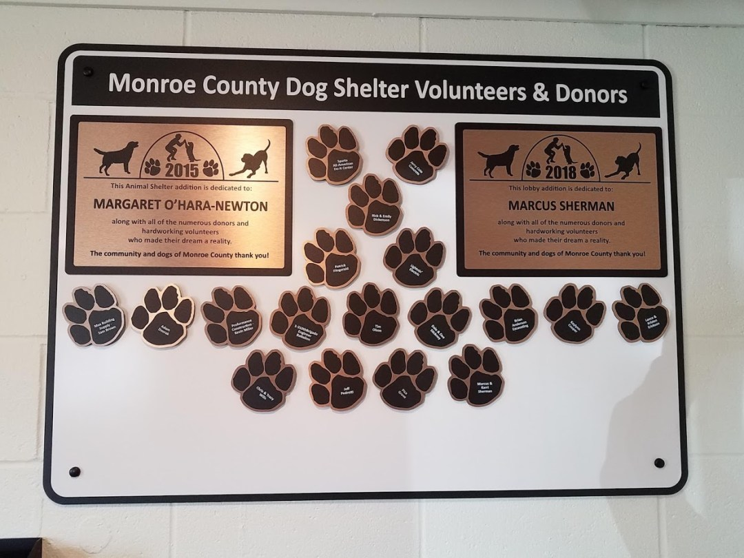 Donor Wall Display - Monroe Co Dog Shelter