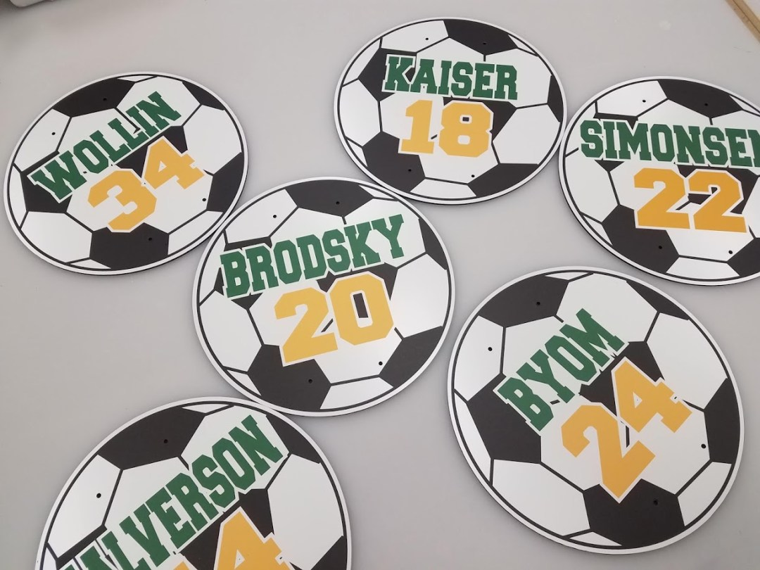 Soccer Balls Custom Cut Metal Print
