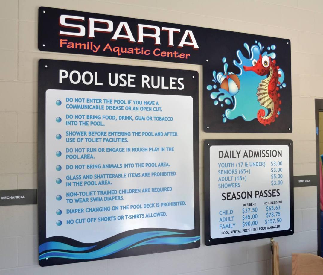 Sparta Aquatic Center Interior Sign