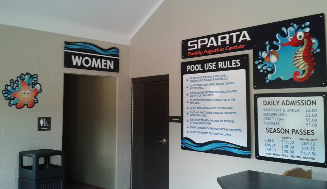Sparta Aquatic Center Interior Signs
