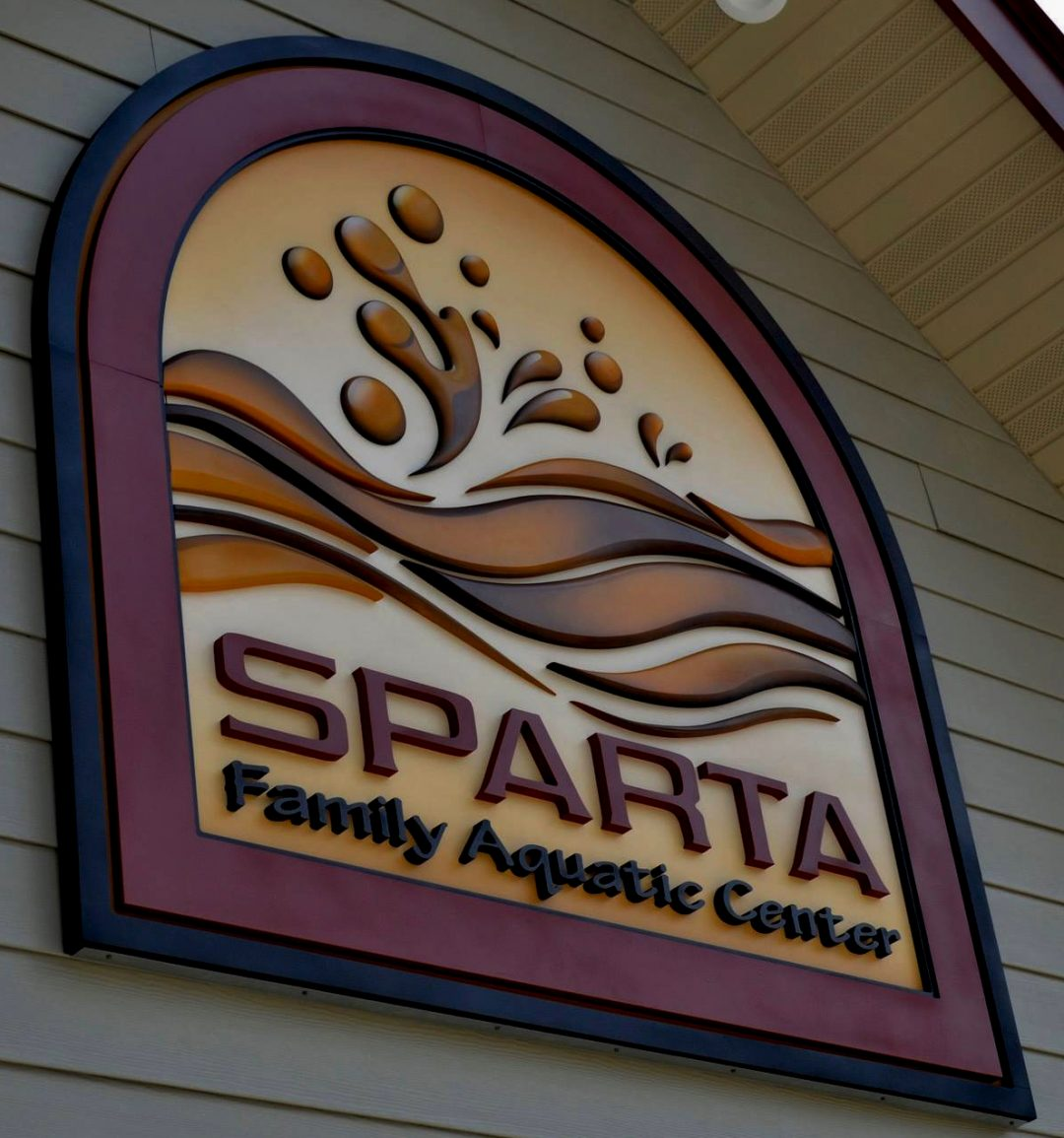 Sparta Aquatic Center Carved Foam Sign