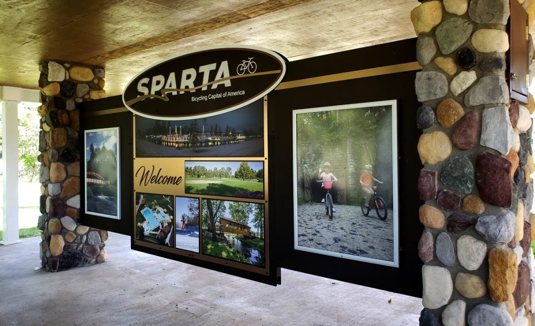Sparta Welcome Center Lighted Exterior Sign