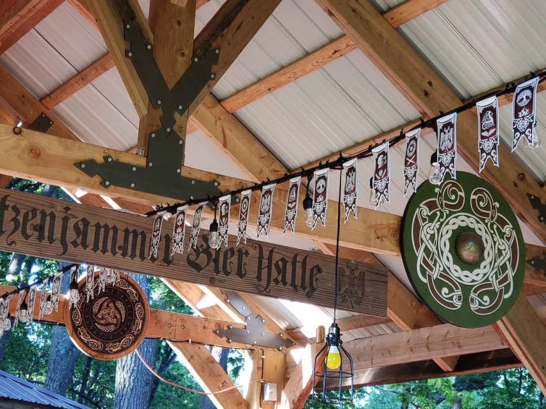 Beir Hall Decor - Streamer Banners, Carved & Printed Wood