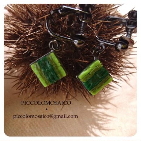 orecchini verdi micromosaico astratto 02