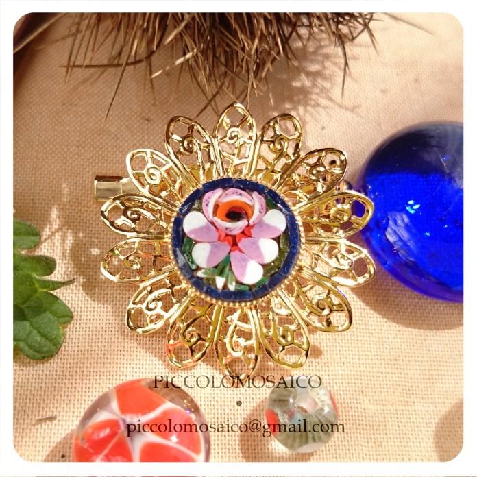 spilla micromosaico dorata fiore rosa 03