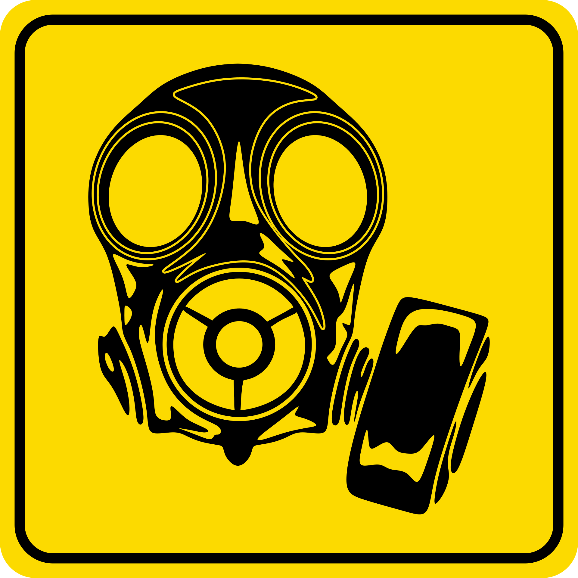 yellow gas mask sign