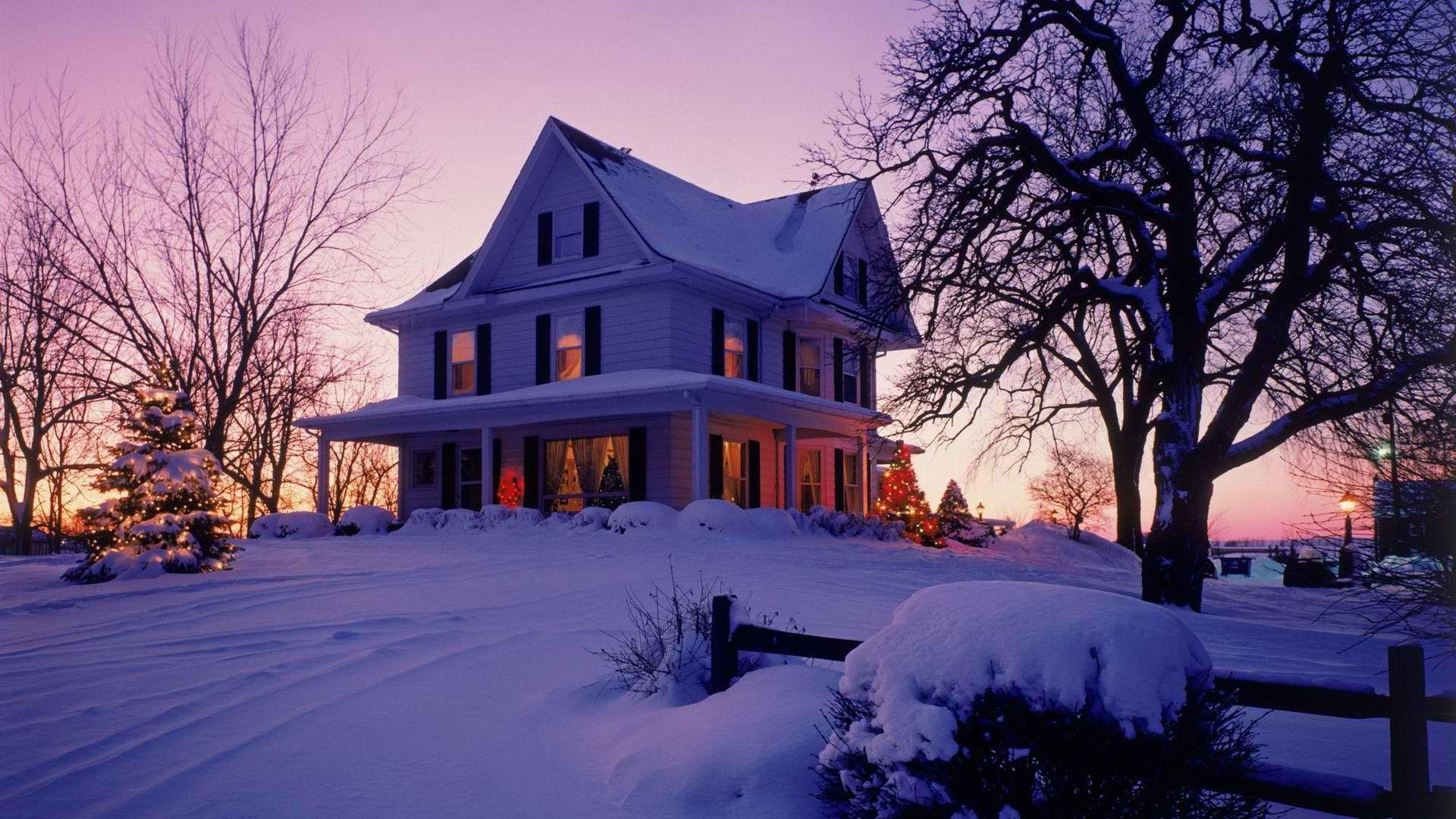New England Fall Desktop Wallpaper Victorian House In Winter Image Id 200419 Image Abyss