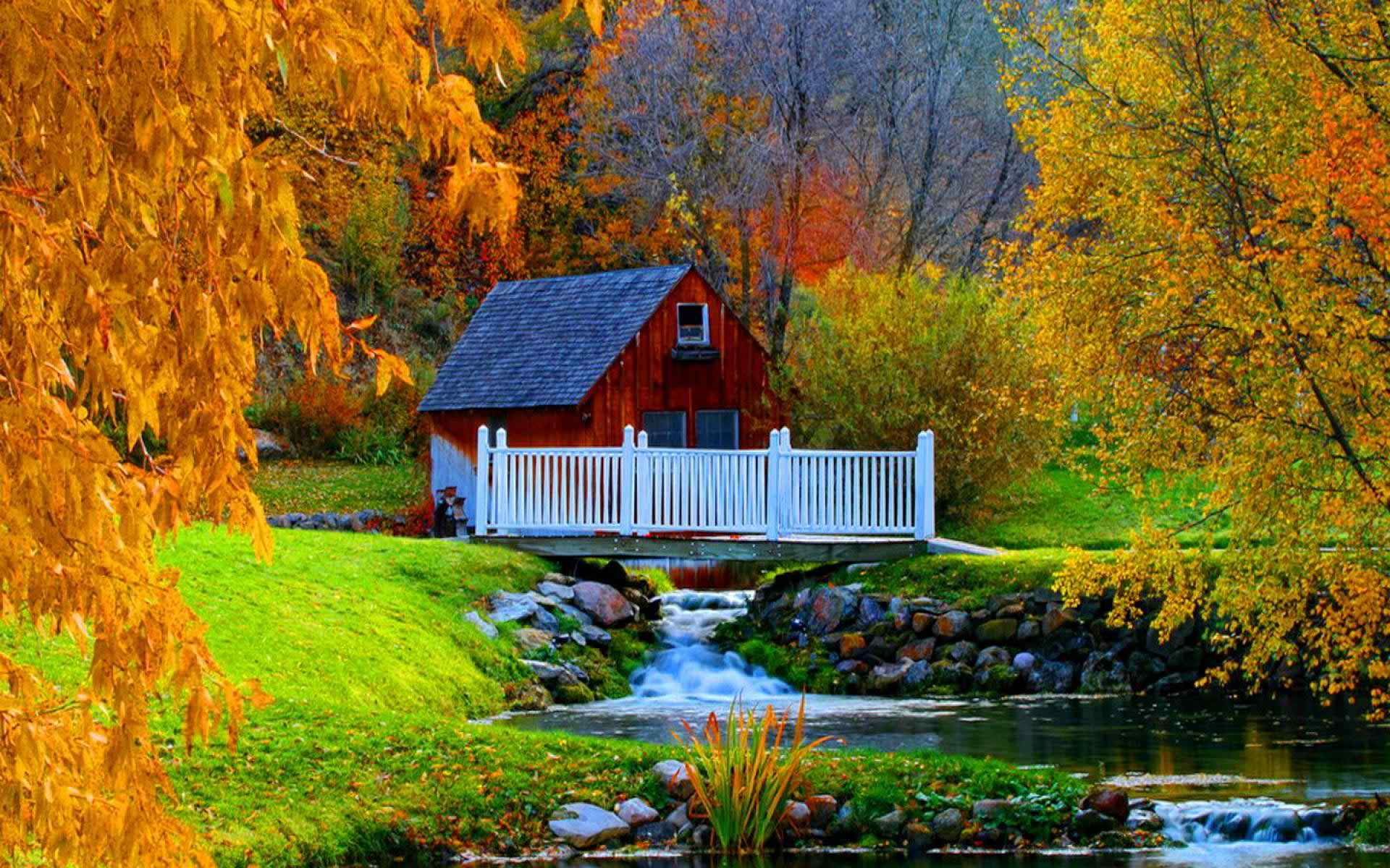 Fall Cabin Wallpaper House In Autumn Forest Image Id 4541 Image Abyss