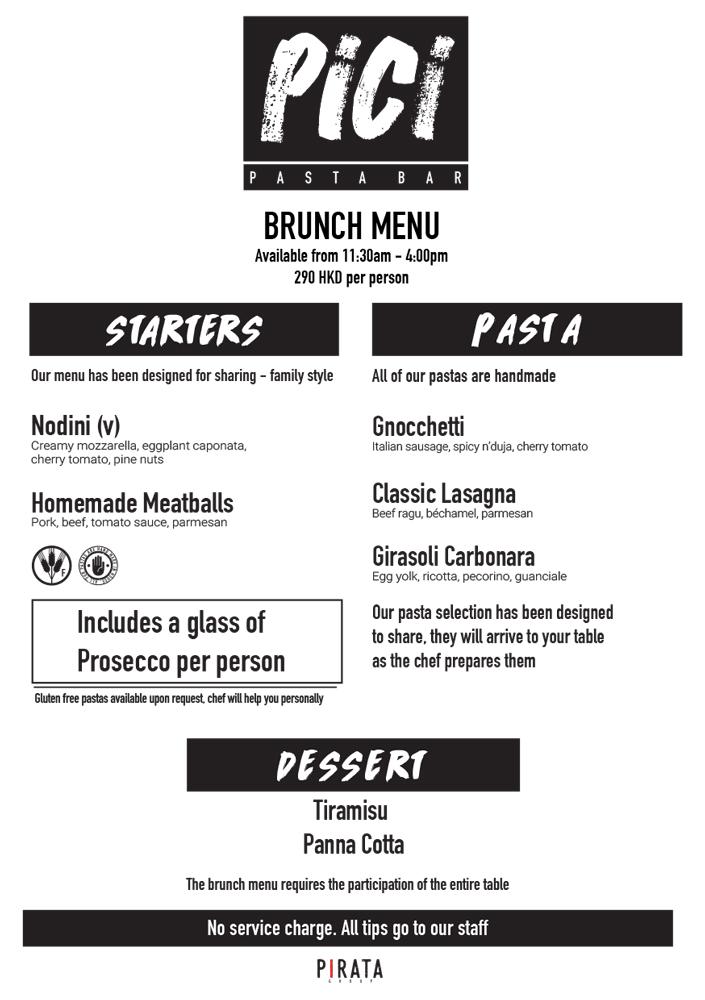 PICI - 灣仔 – 早午餐餐單