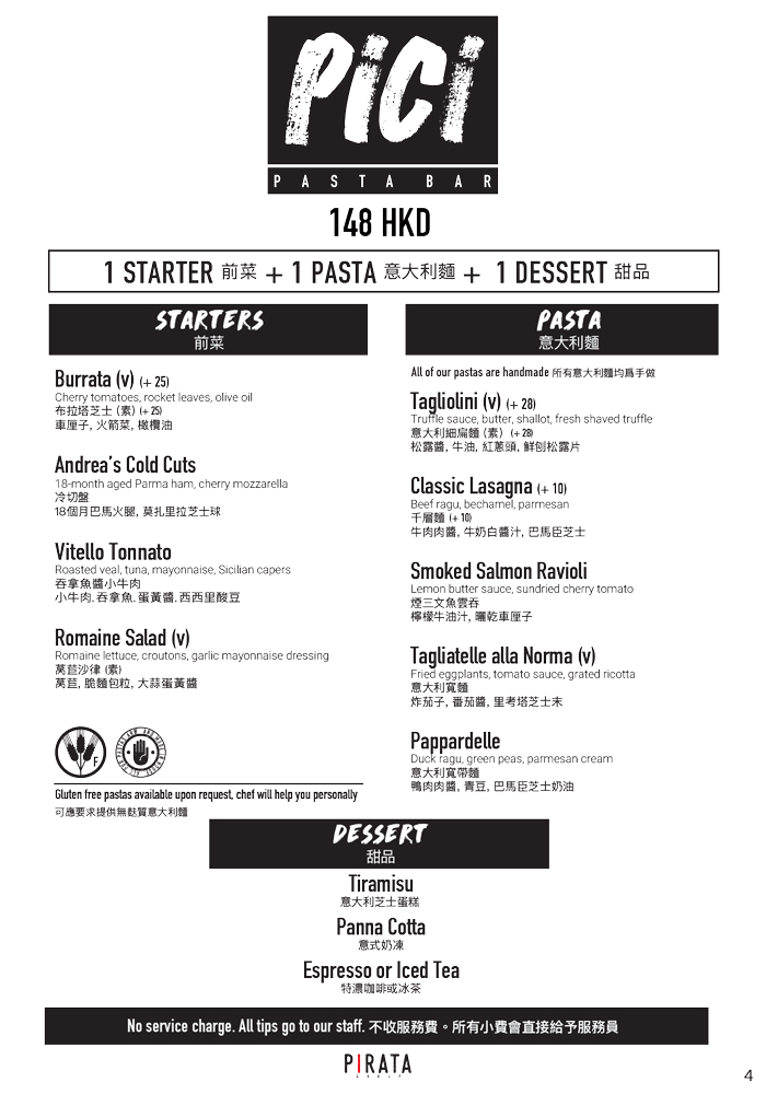PICI - 尖沙咀 – 午餐餐單