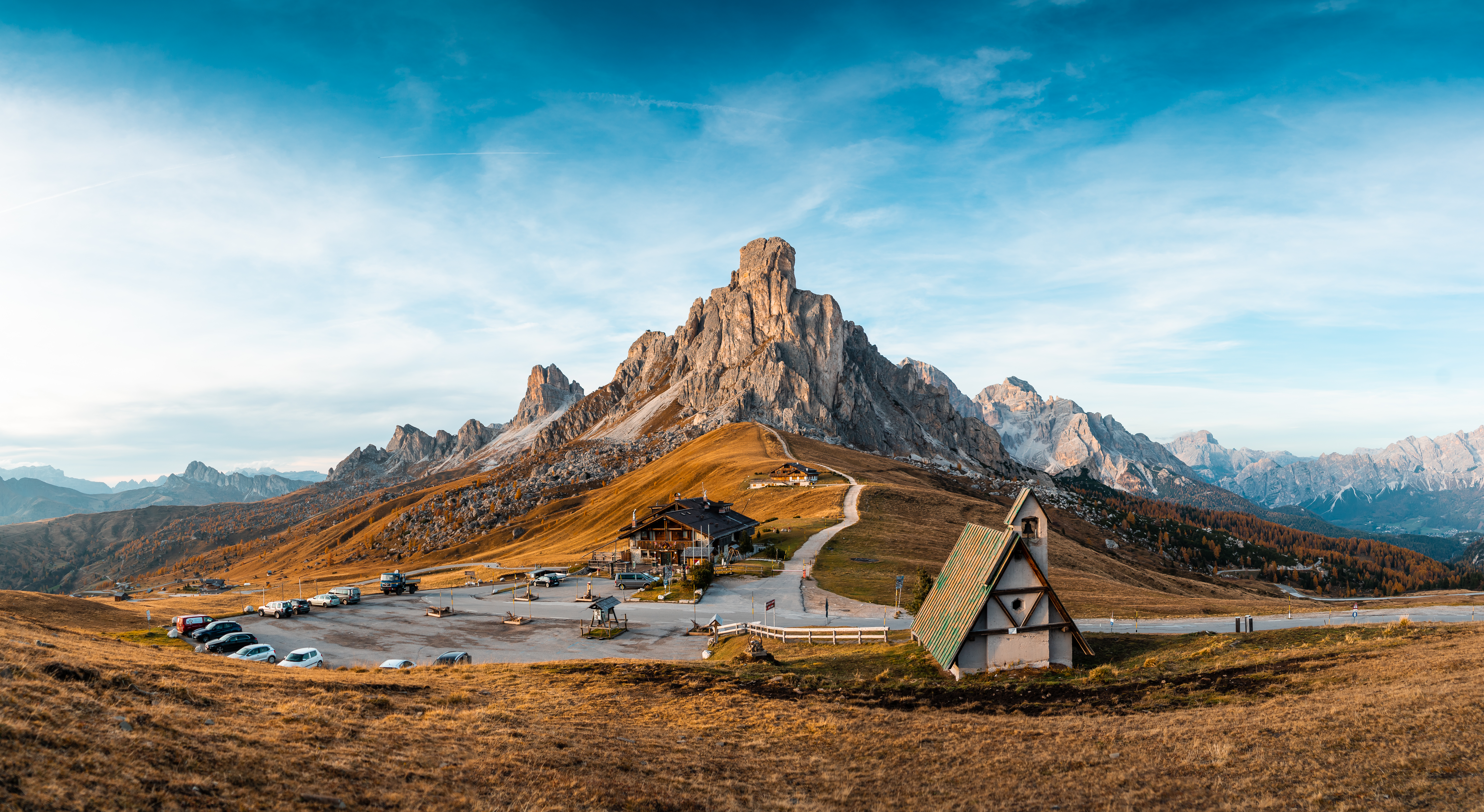 Download Beautiful View of The Mountains and The Church on Giau Pass FREE Stock Photo