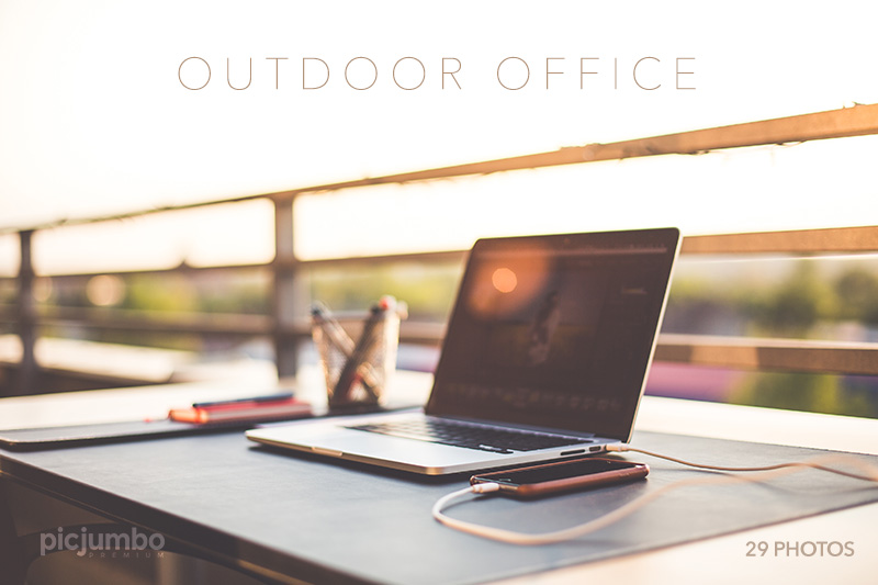 Outdoor Garden Office Working Desk With Laptop Free Stock