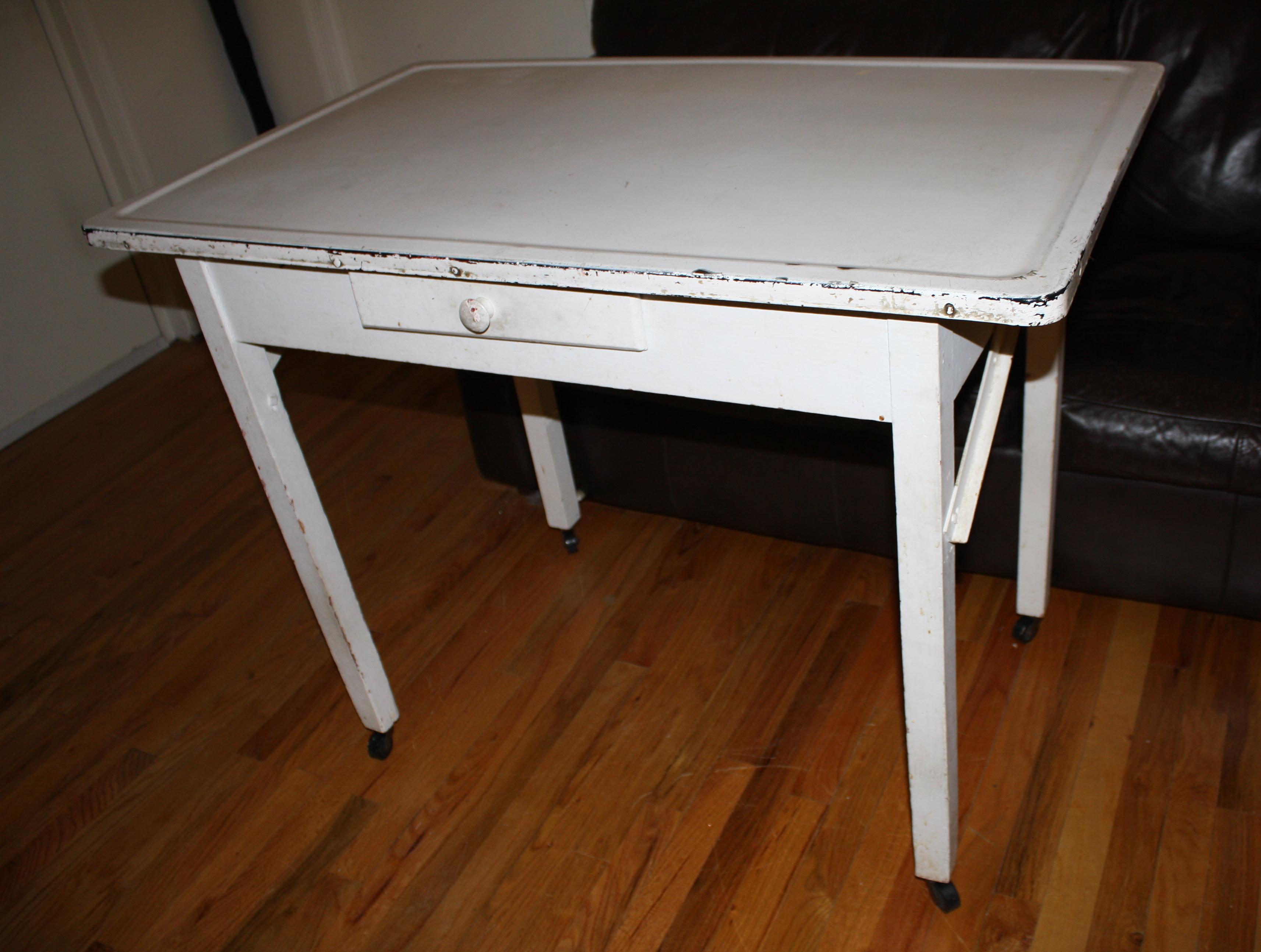 metal kitchen tables roller island antique farmhouse baker table with porcelain enamel top picked vintage