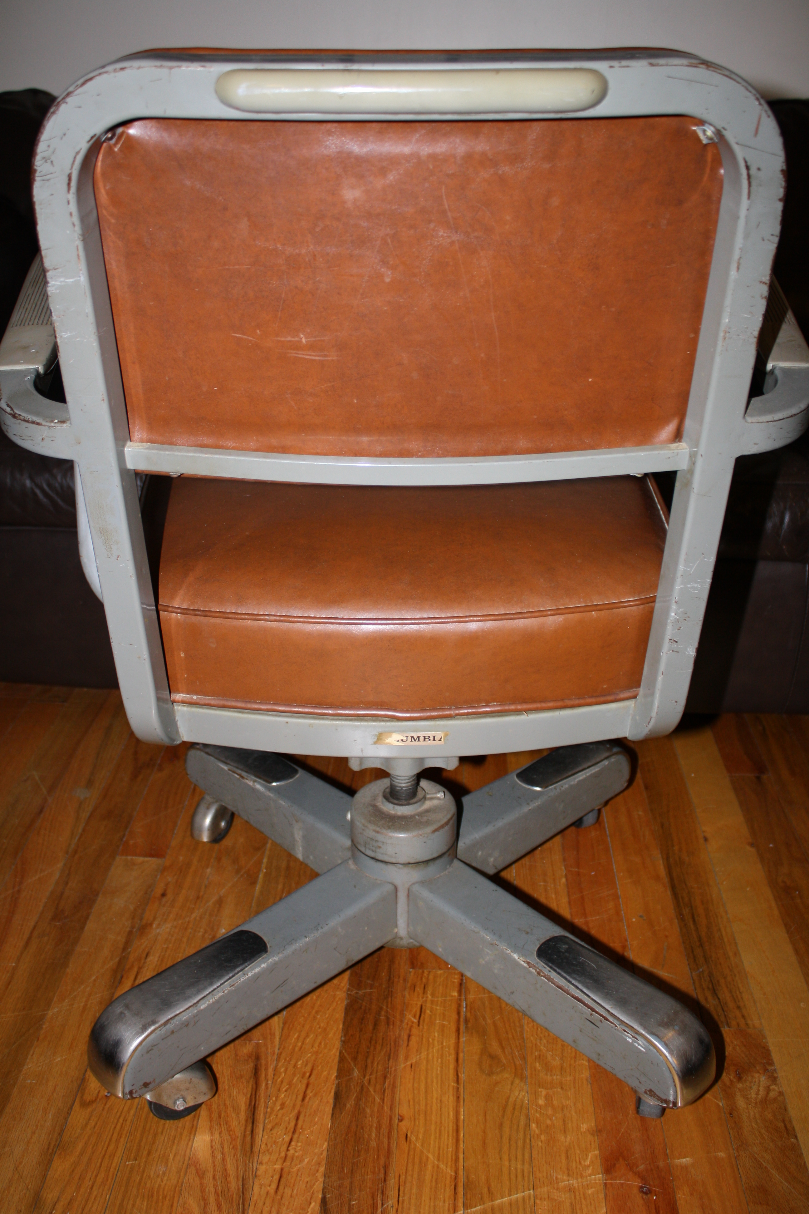 office chair steel base with wheels gray wood dining chairs mid century swivel desk  and castors