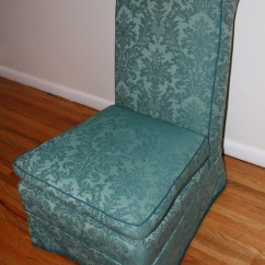 Folding Chair With Cushion Installing Rail Vintage Blue Slipper Brocade Design   Picked