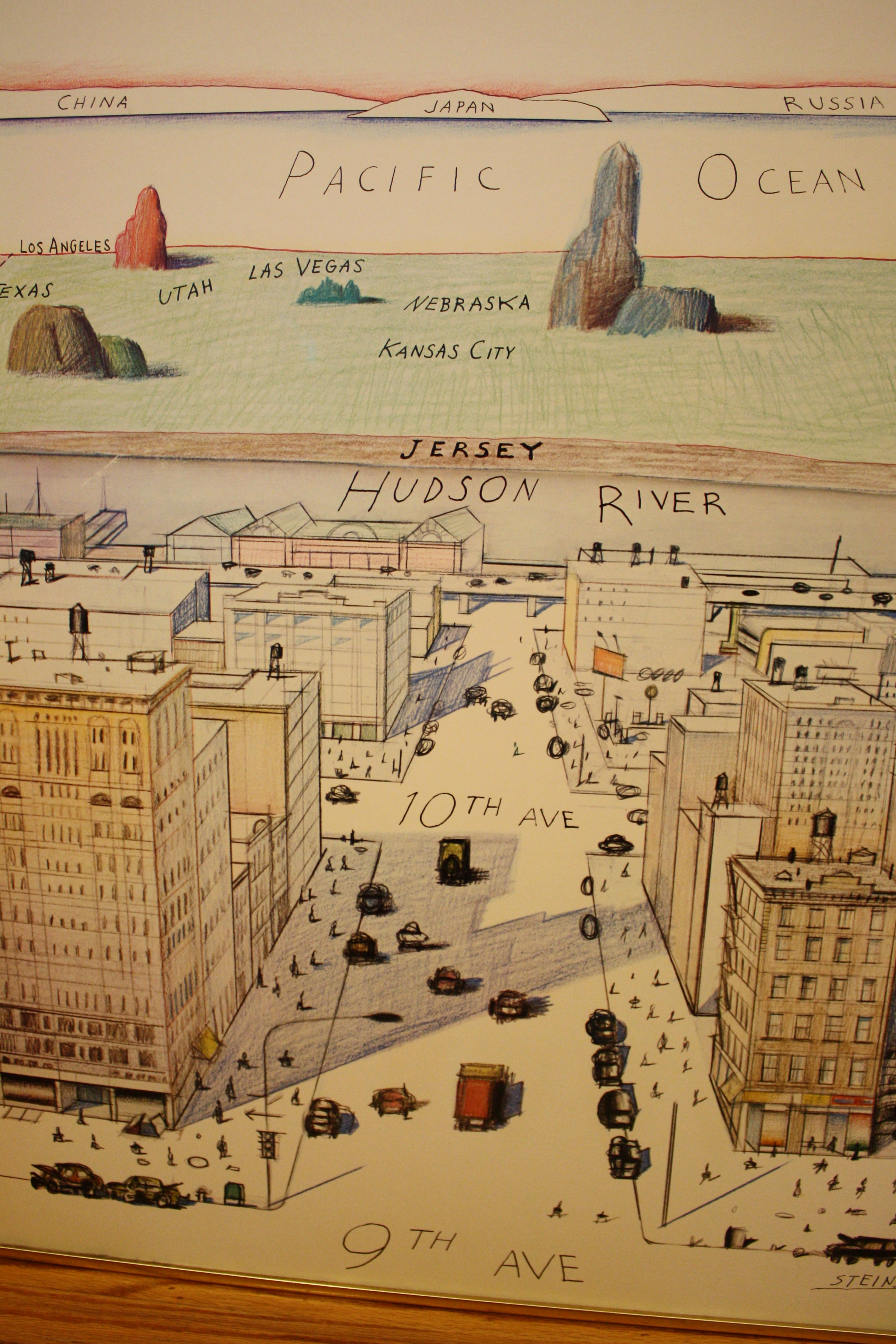 The New Yorker Cover View of the World from 9th Avenue