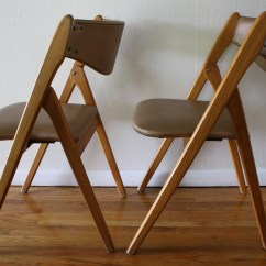 Folding Wood Chairs With Padded Seat Chair Back Covers For Dining Room Mid Century Modern Coronet Picked Vintage