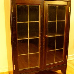 Tall Folding Chairs Chair Covers Rental Memphis Tn Antique Wood Cabinet With Leaded Glass Windows | Picked Vintage