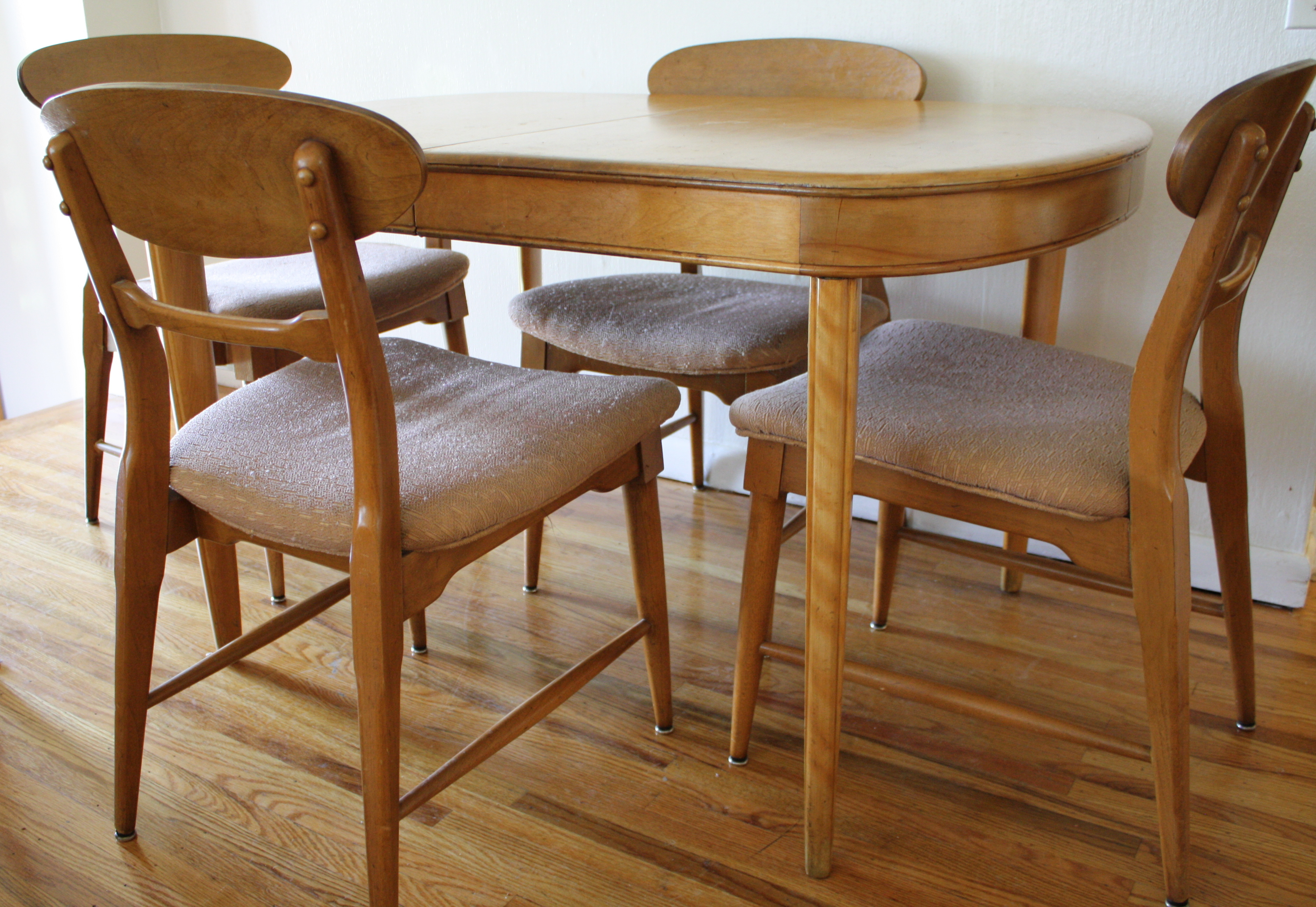 heywood wakefield dining table and chairs revolving chair near me mid century modern set  style