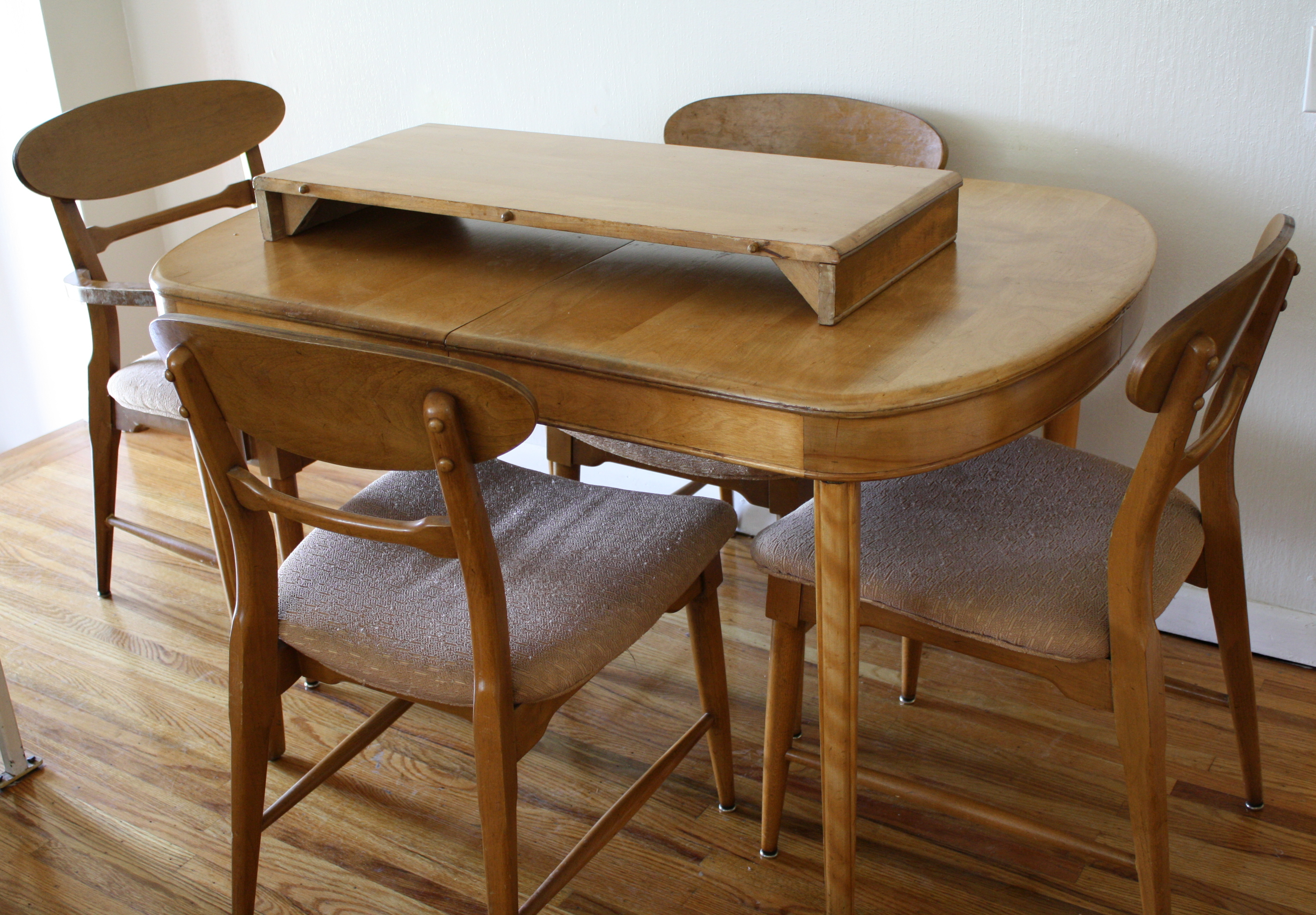 heywood wakefield dining table and chairs waffle chair walmart mid century modern set  style