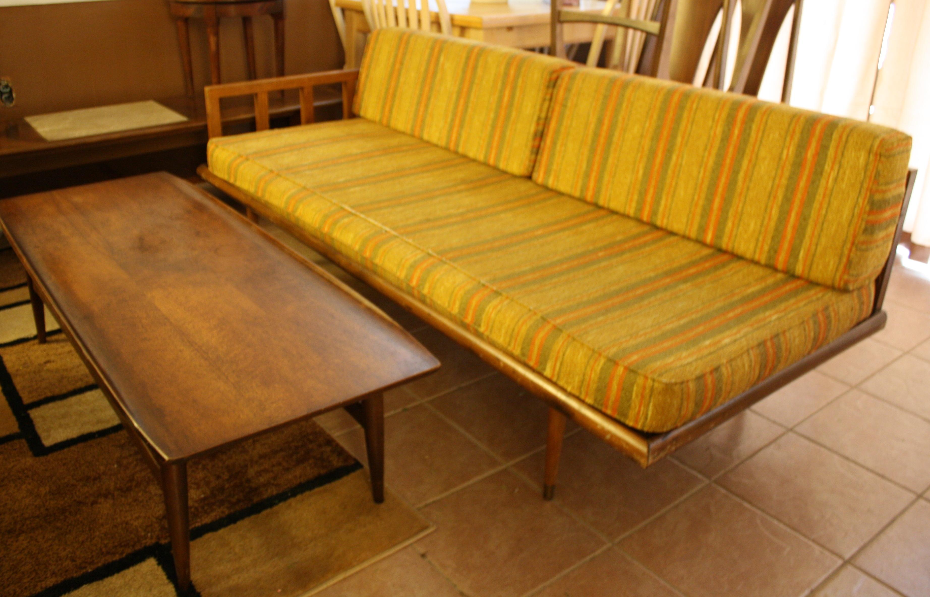 Mid Century Modern Streamlined Sofa with Retro Striped