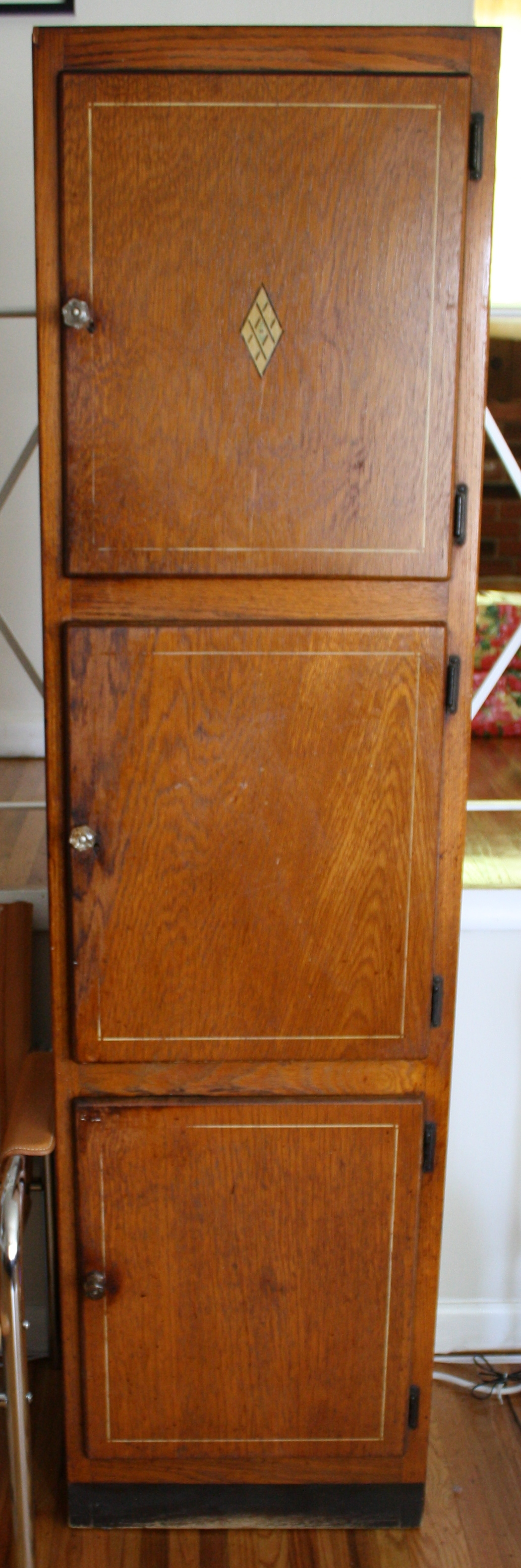 Retro Tall Wood Cabinet with Cut Glass Knobs  Picked Vintage