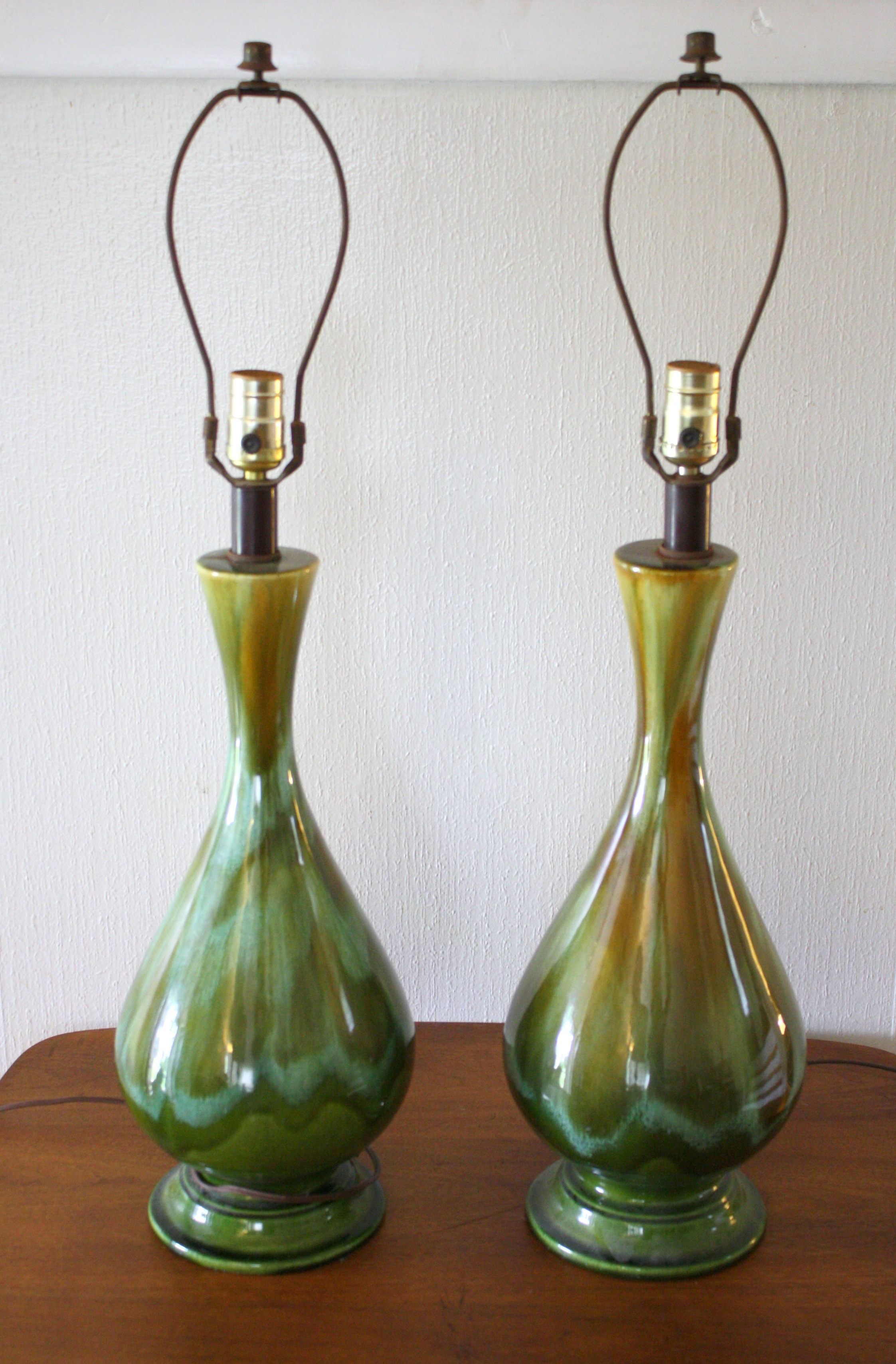 Mid Century Modern Drip Glazed Pottery Lamps  Picked Vintage