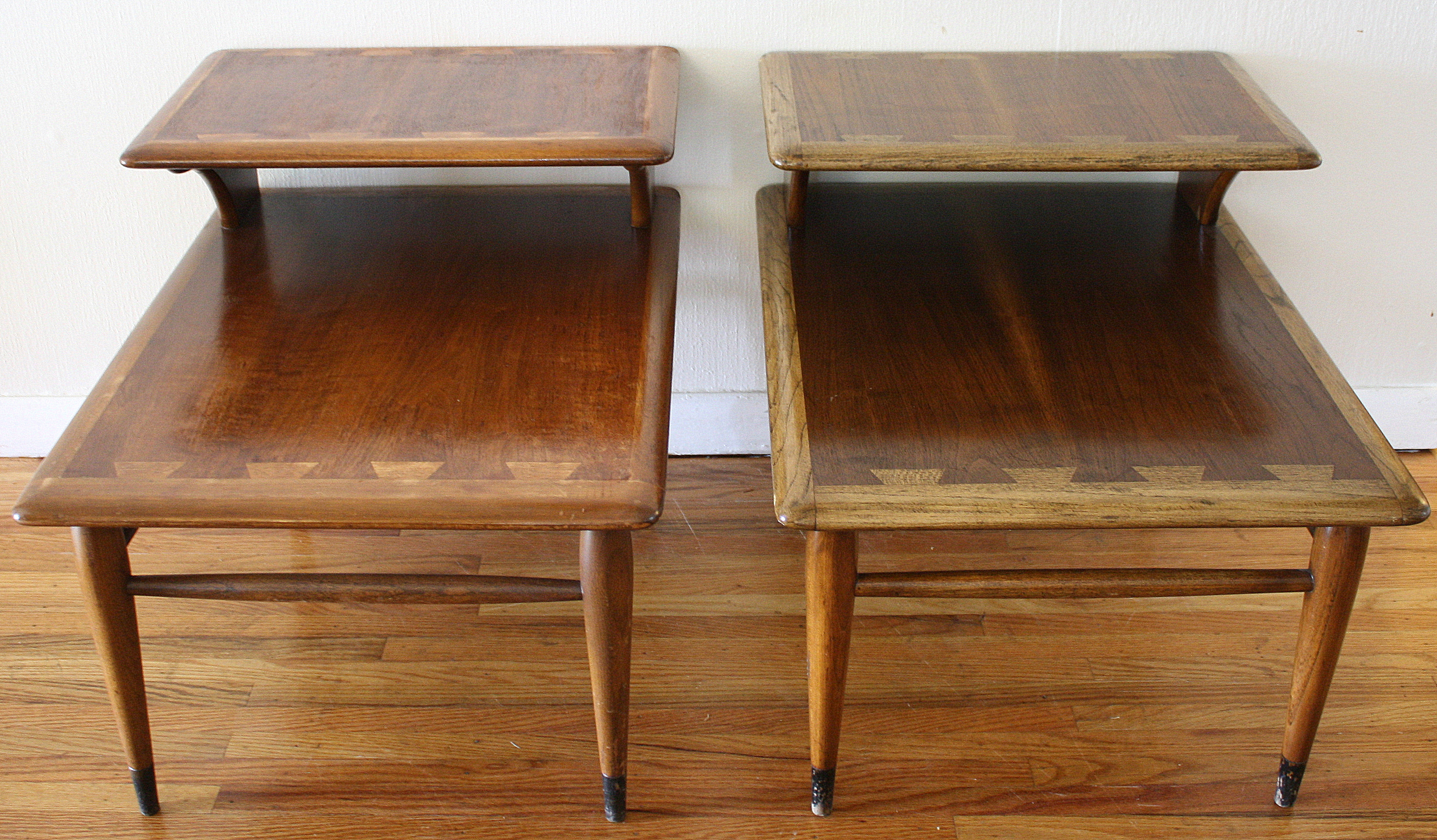 heywood wakefield dining table and chairs little tikes adjustable mid century modern dovetail side end tables – lane acclaim series | picked vintage