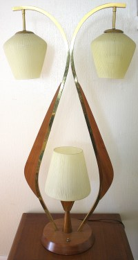 Mid Century Modern Teak and Brass Table Lamp | Picked Vintage