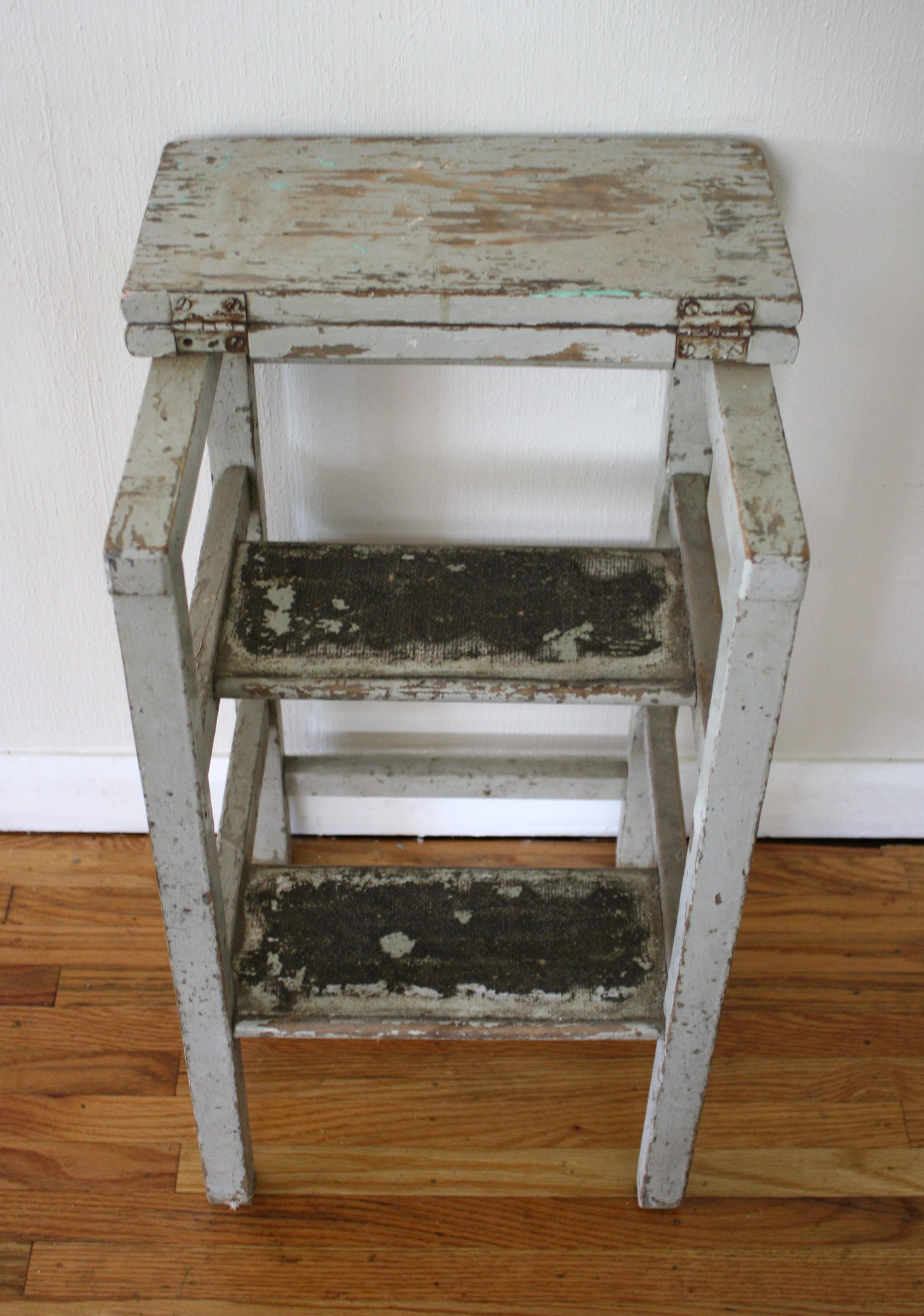 Antique Rustic Step Stool Picked Vintage