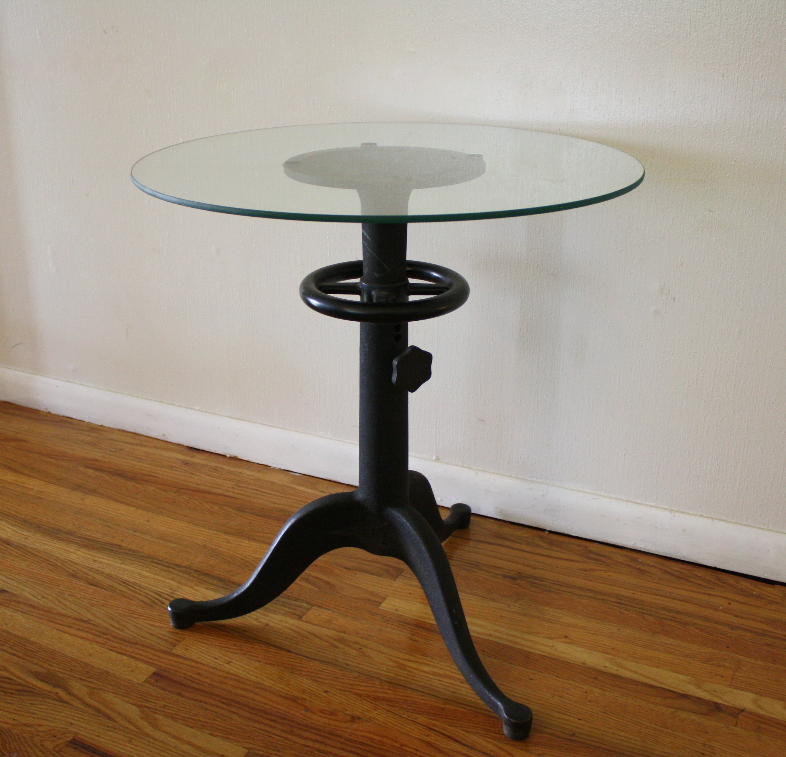 Antique Cast Iron Table with Glass Top  Steampunk Chic