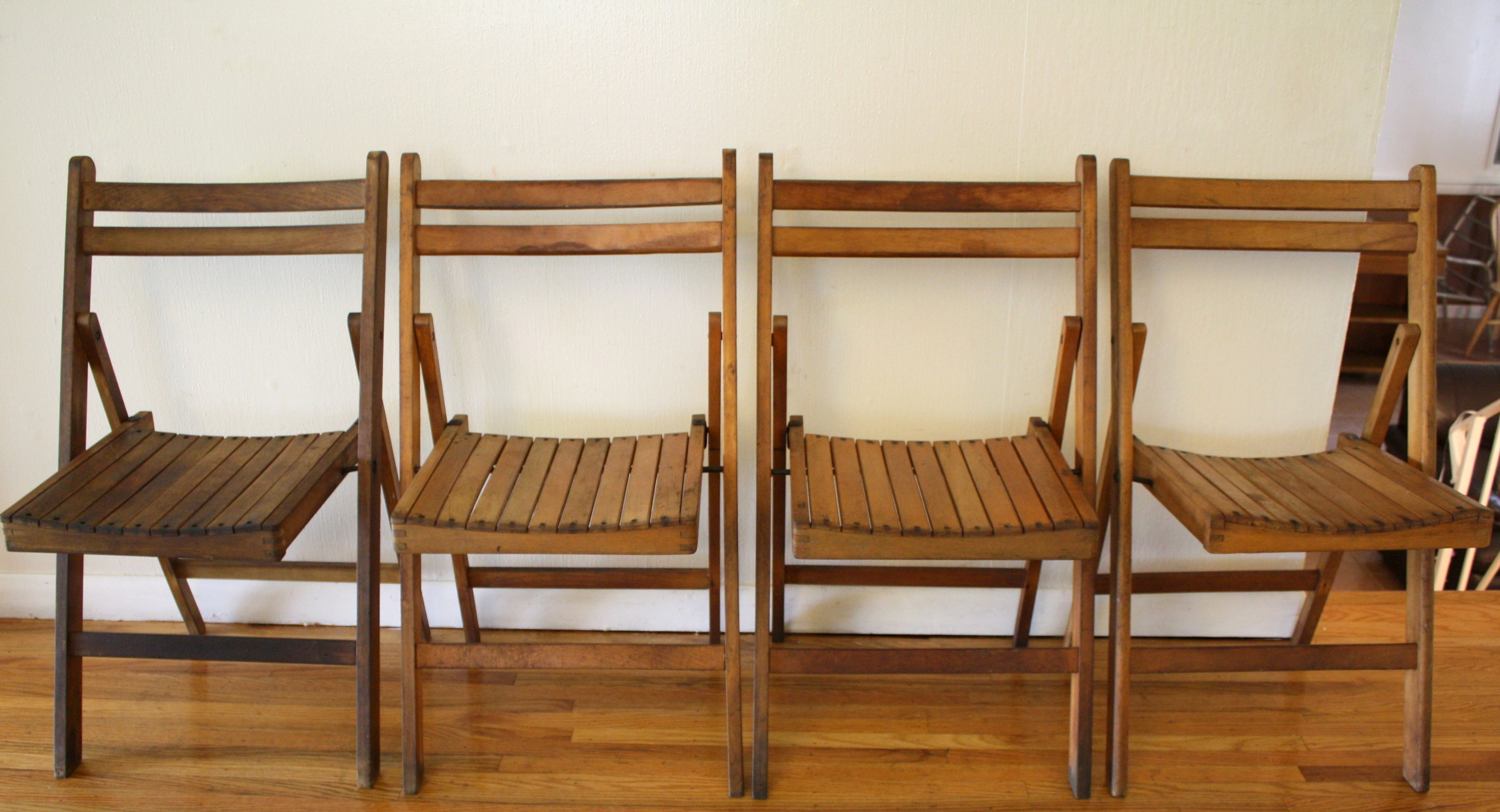 antique folding chair bouncy baby set of 4 slatted chairs picked vintage