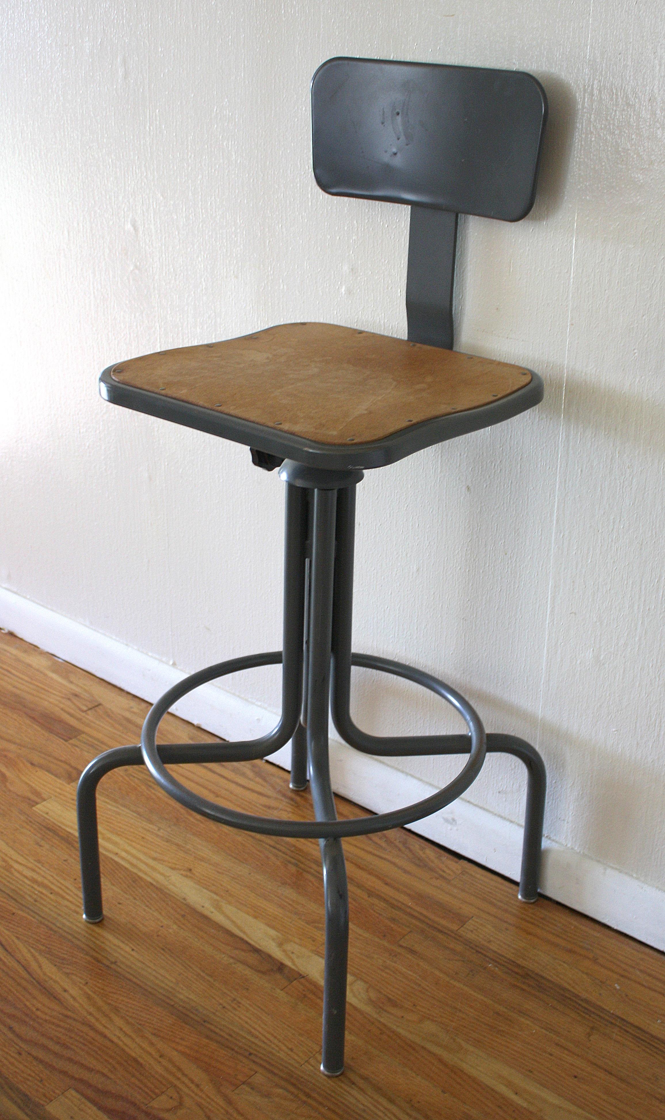 Antique Industrial Drafting Stool  Picked Vintage