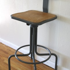 Drafting Chairs Kids Bungee Chair Antique Industrial Stool | Picked Vintage