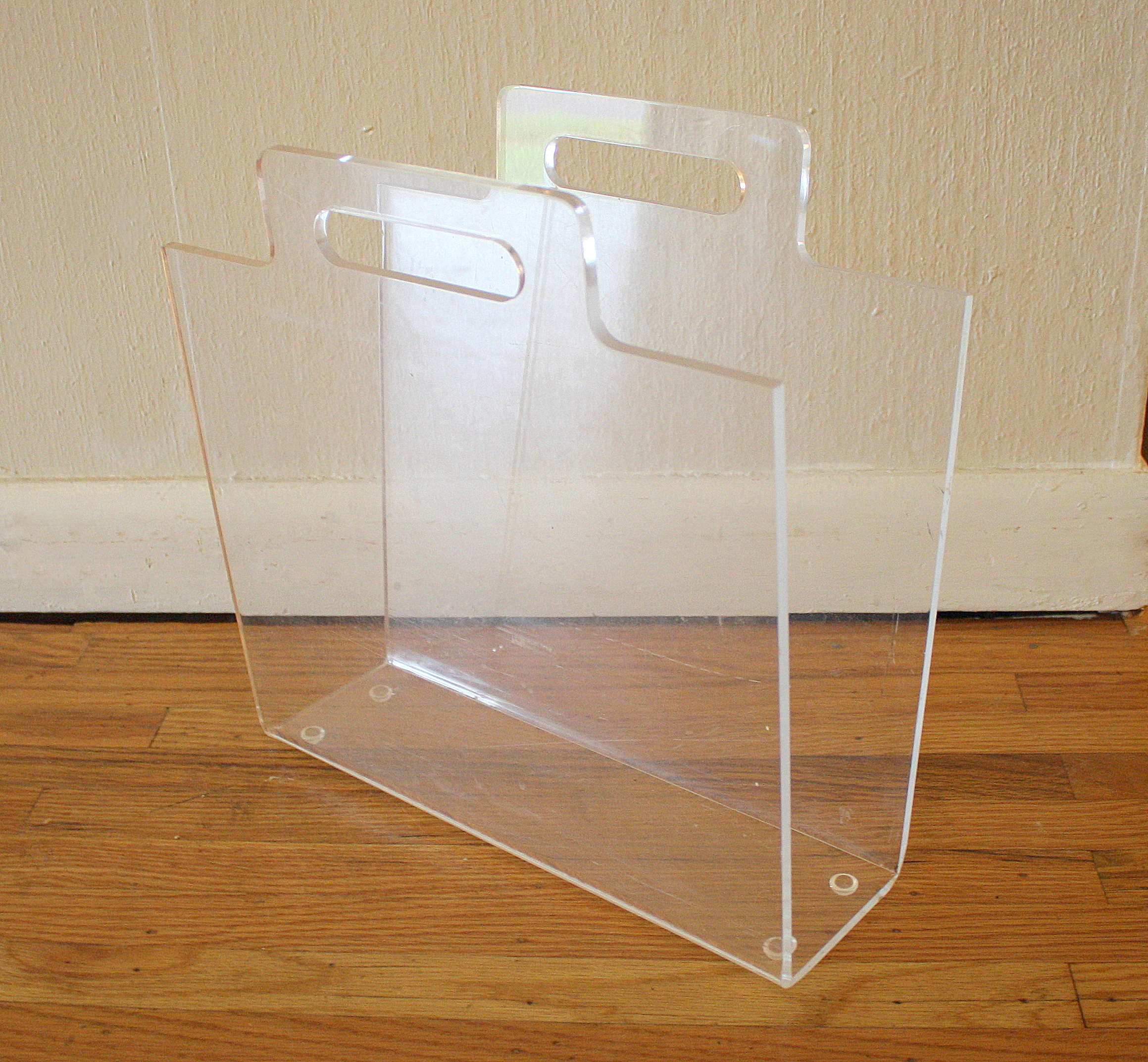 Mid Century Modern Lucite Side Tables and Magazine Holder