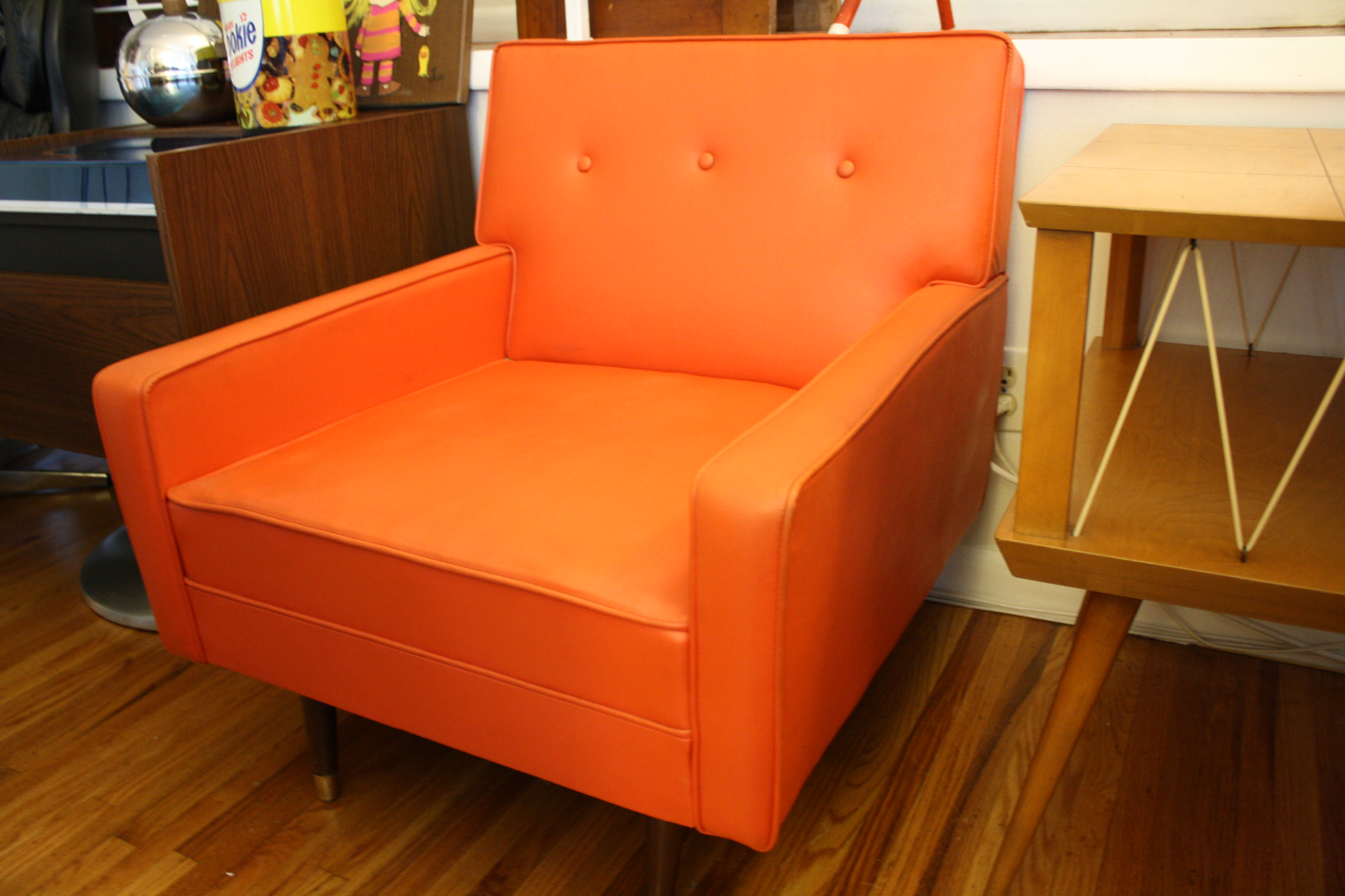 mcm orange naugahyde chair 3  Picked Vintage